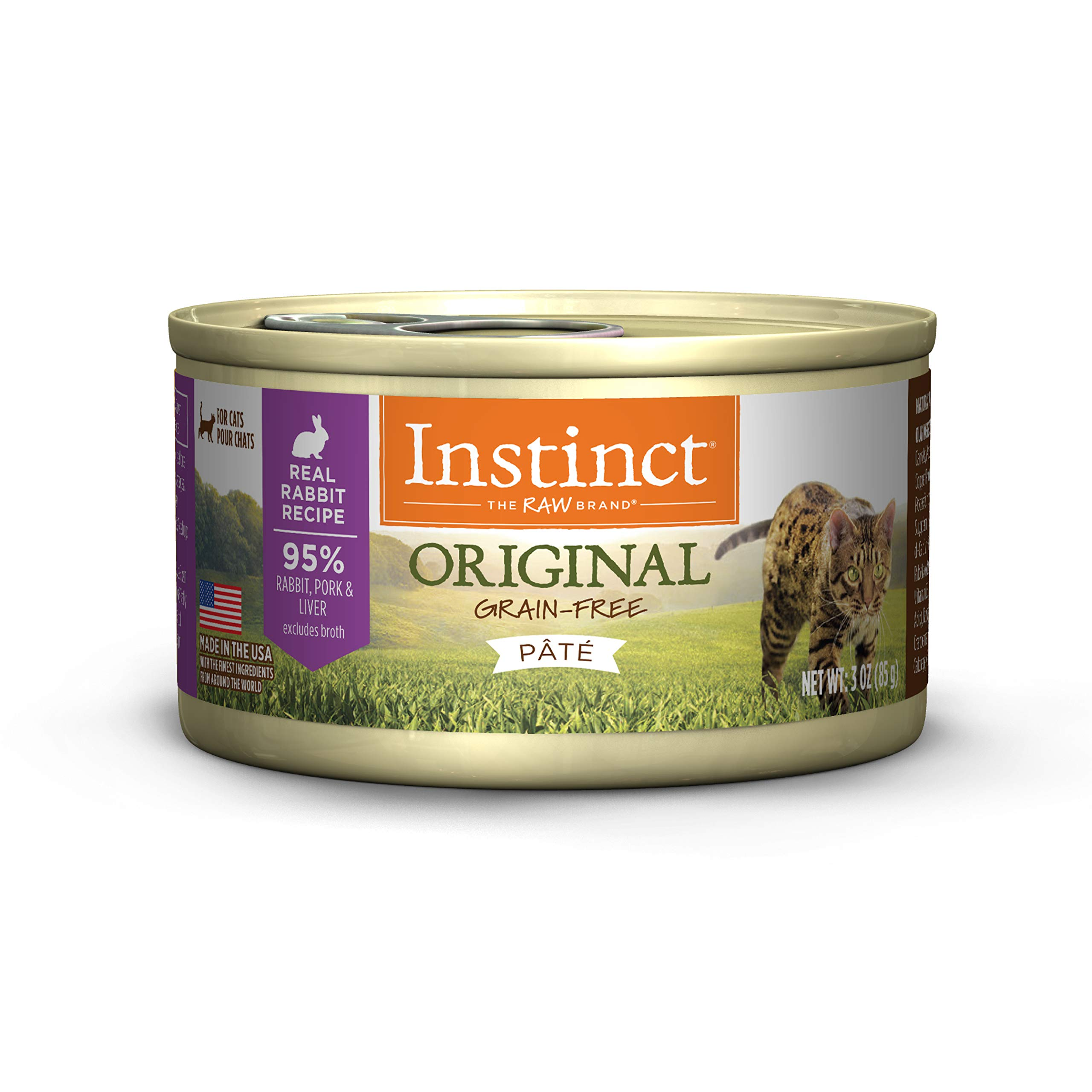 Instinct Original Grain Free Real Rabbit Recipe Natural Wet Canned Cat Food by Nature's Variety, 3 oz. Cans (Case of 24) by Instinct