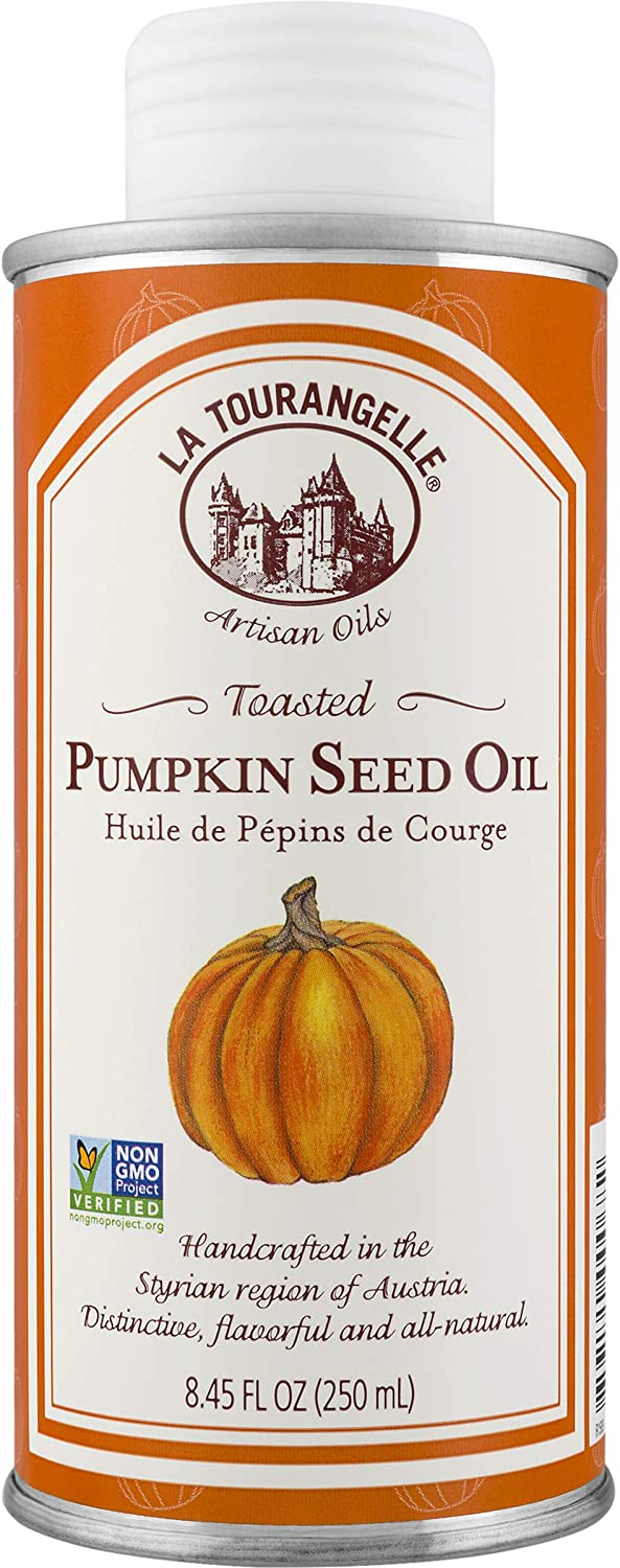La Tourangelle Toasted Pumpkin Seed Oil 8.45 Fl. Oz., All-Natural, Artisanal, Great for Salads, Fruit, Greens or Bread