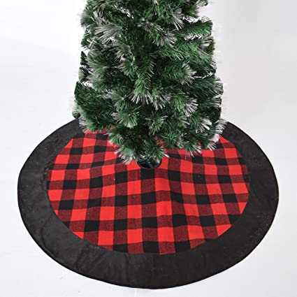 gireshome 42 buffalo check plaid christmas tree skirt black suede border xmas tree decoration merry - Red And Black Plaid Christmas Decor