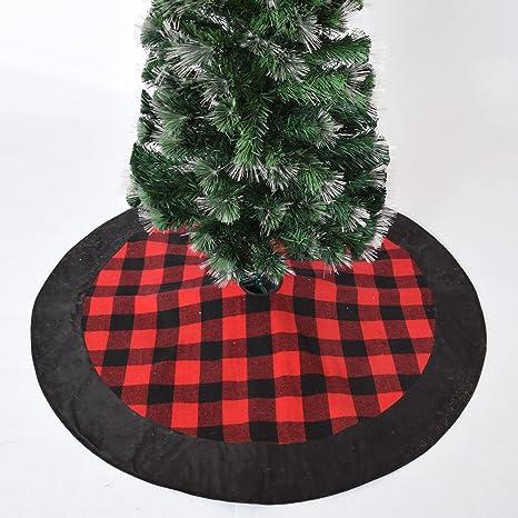Buffalo Check Christmas Decor.Gireshome 42 Buffalo Check Plaid Christmas Tree Skirt With Black Suede Border Xmas Tree Decoration Merry Christmas Supplies Christmas Decoration