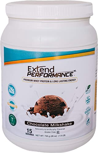 Extend Performance Whey Protein Endurance Energy, 24g Protein,Chocolate Milkshake,15 Servings, 26 Ounce