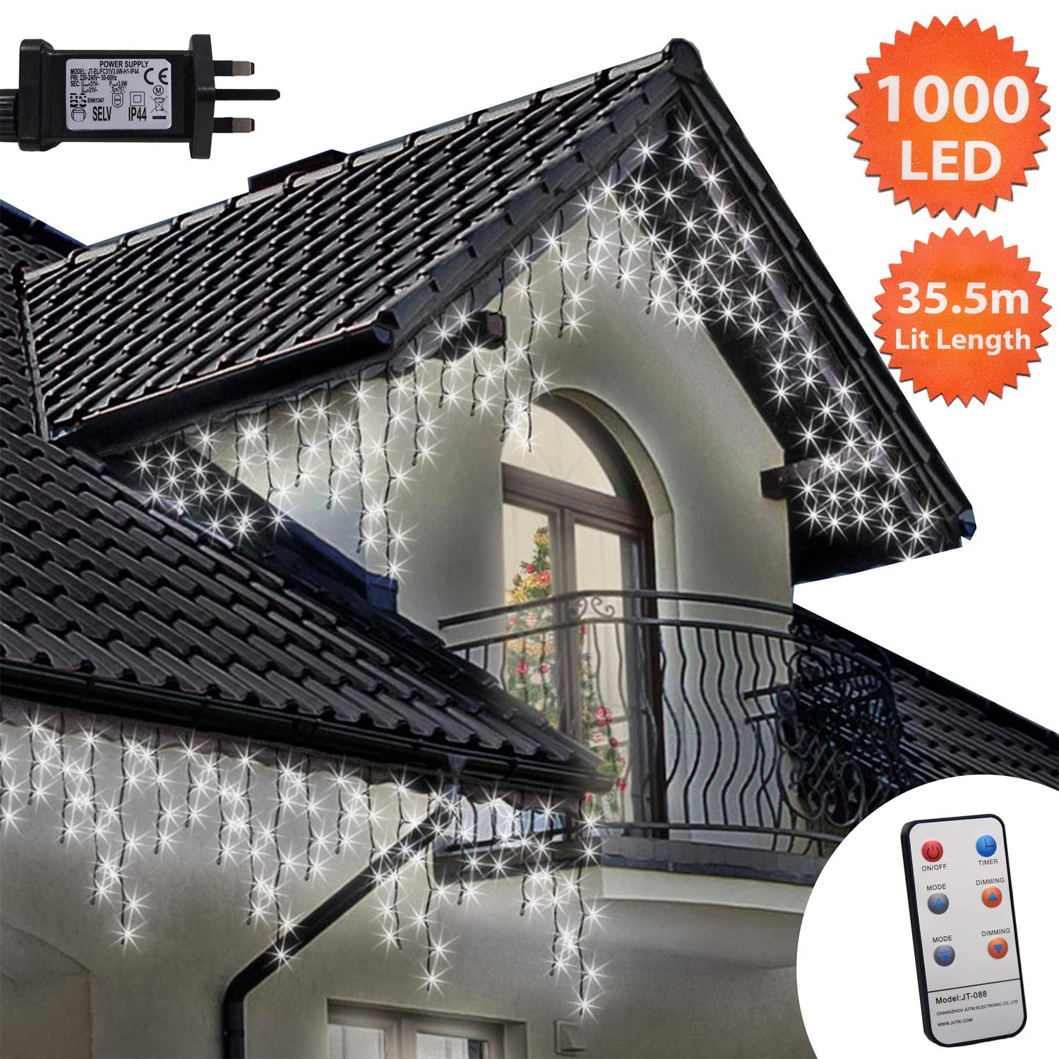 04a3f5ef7e05 Icicle Lights Remote 1000 LED 35.5m Bright/Cool White Outdoor Christmas  Lights Indoor String Fairy Lights Timer Memory Mains Powered 116ft Lit  Length ...