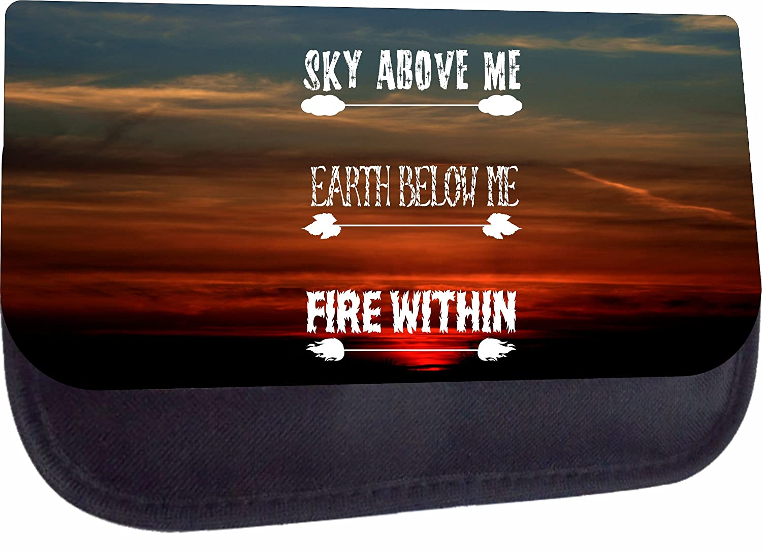 Girls Black Multi-Purpose Laptop Shoulder Messenger Bag and Small Wire Accessories Case Set Elementary//Middle // High School Sky Above Me Fire Within Earth Below Me Inspirational Quote