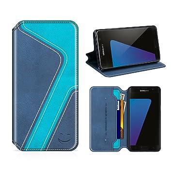 MOBESV Smiley Funda Cartera Samsung Galaxy S7, Funda Cuero Movil Samsung S7 Carcasa Case con Billetera/Soporte para Samsung Galaxy S7 - Azul ...