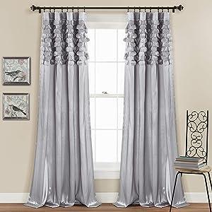 "Lush Decor Light Gray Circle Dream Window Curtains Panel Set for Living, Dining Room, Bedroom (Pair), 84"" x 54, 84"