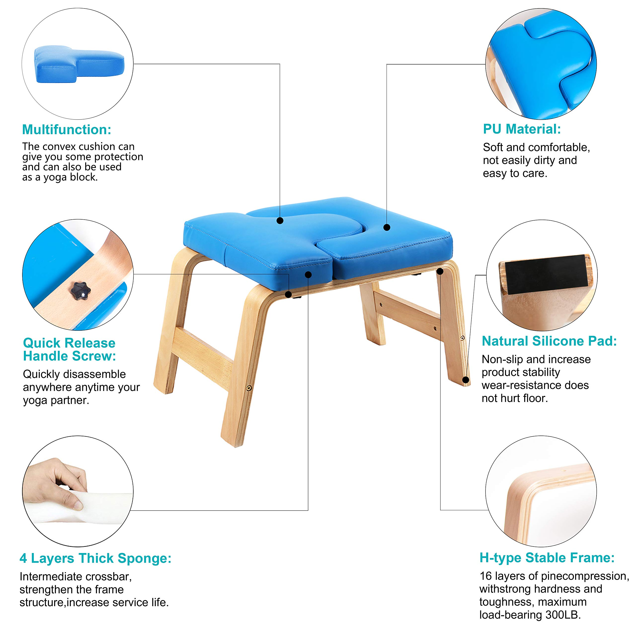 Desire Life Yoga Headstand Bench - Stand Yoga Chair for Family, Gym - Wood and PU Pads - Relieve Fatigue and Build Up Body (Blue) by Desire Life (Image #4)