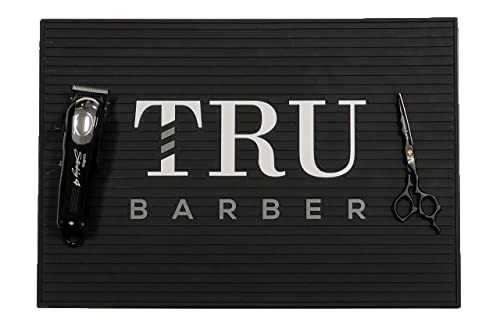 Tru Barber Mat 19 x 13 Flexible PVC Station Mat, Professional Mat, Salon and Barbershop work Station pads, Beauty salon tools hairstylist, Counter mat for clippers, Anti slip Black White