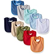 Hudson Baby Baby Drooler Bibs with Waterproof Lining, 10 Pack, Boy Solids, One Size