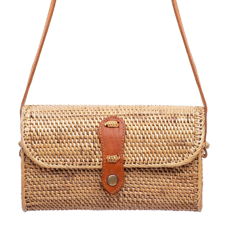New Rattan Bags for Women - Handmade Wicker Woven Purse Handbag Circle Boho Bag Bali
