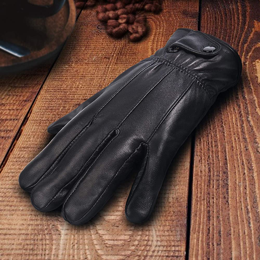 New Men/'s Winter Warm Soft Leather Driving Gloves with Fleece Lining Black