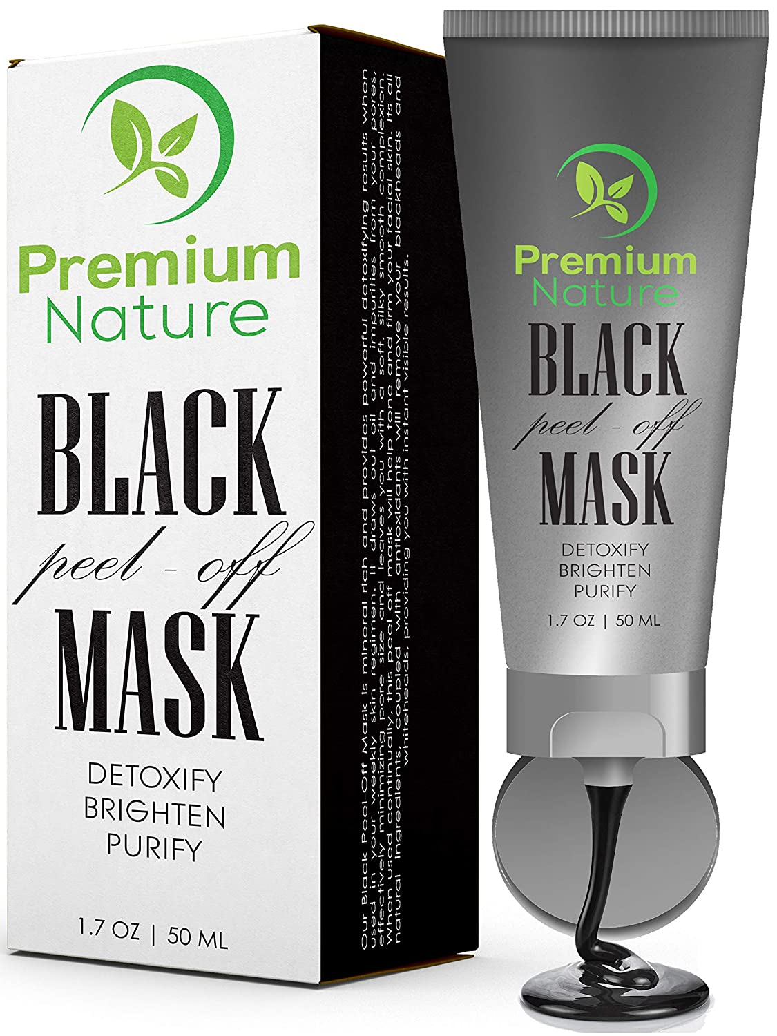 Black Charcoal Peel Off Mask - Natural Blackhead Remover Mask Activated Charcoal Black Face Mask Peel Off for Blackheads Facial Blackhead Removal Mask Deep Cleansing Facemask Pore Detox Cleanser