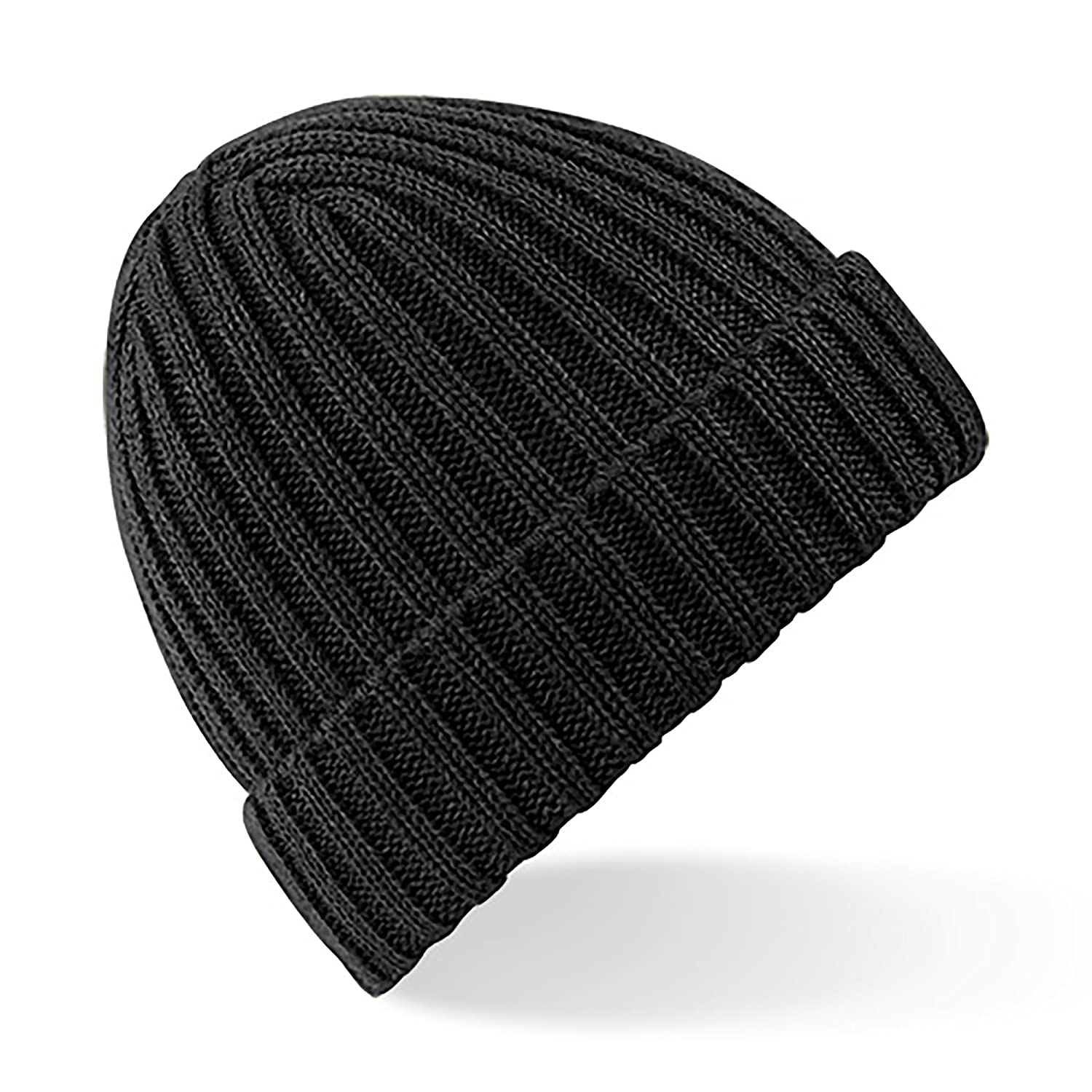 Amazon.com  Beechfield Unisex Winter Chunky Ribbed Beanie Hat (One Size)  (Black)  Clothing 3ce4a64a3c9