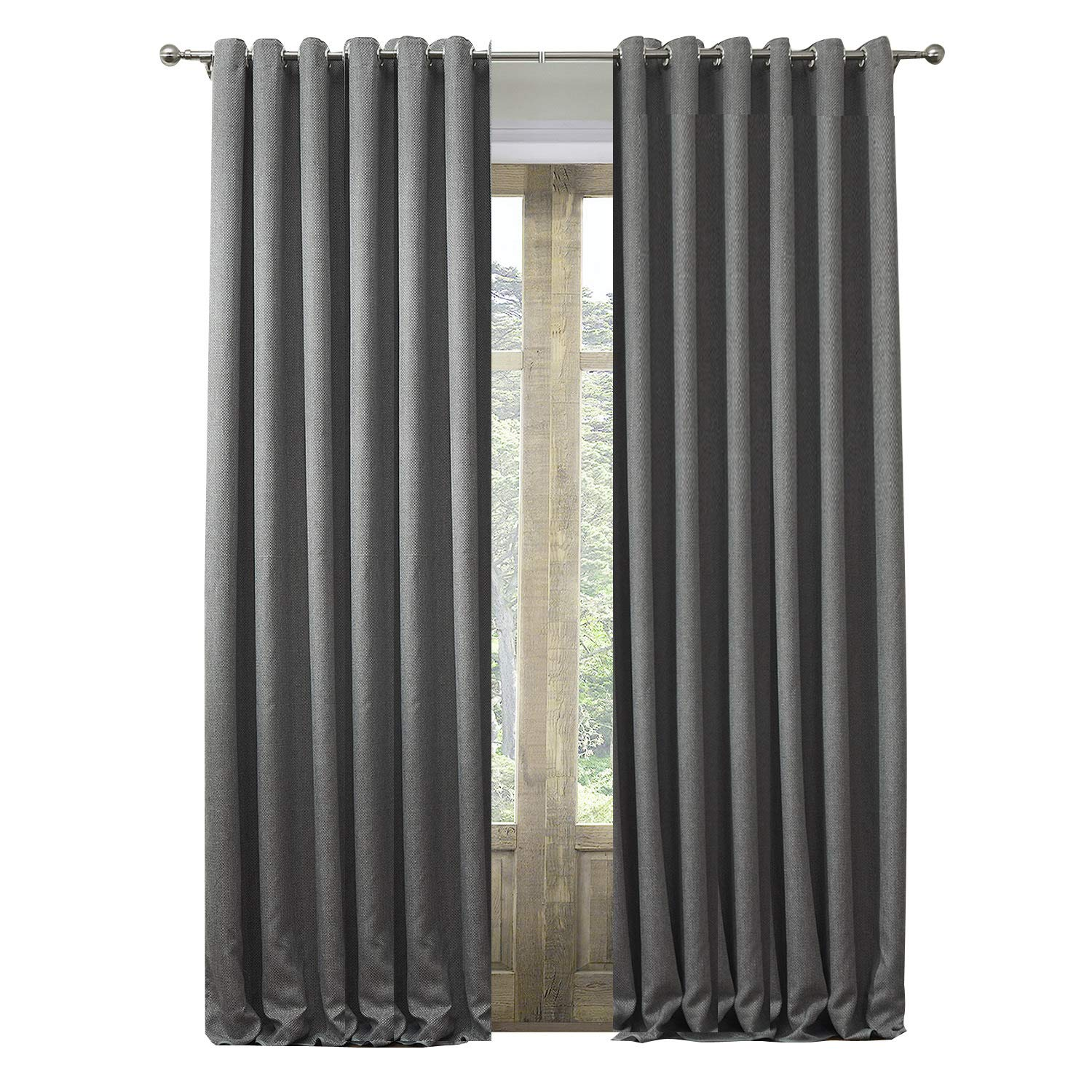 Artdix Blackout Curtains Panels Window Drapes - Grey 50W x 120L Inches (2 Panels) Grommet Top Insulated Thermal Solid Faux Linen Fabric Curtains for Bedroom, Living Room, Kids Room, Kitchen
