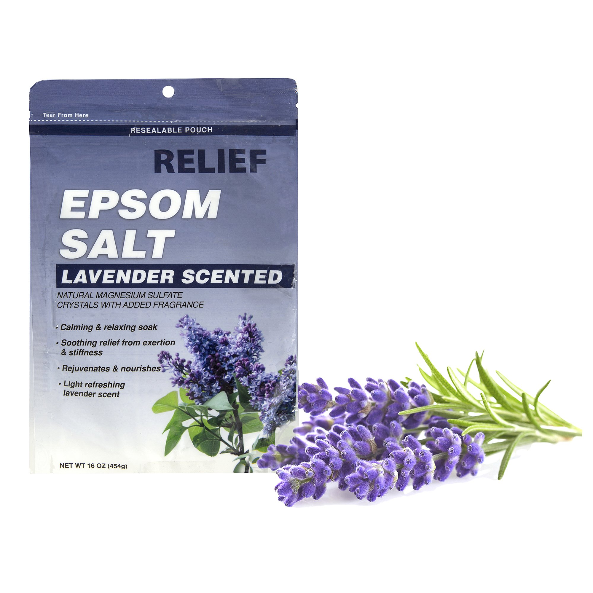 Relief Epsom Salt Lavender - Calming & Relaxing Soak, 16 oz,(Blue Cross Laboratories)