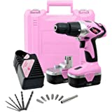 Pink Power PP182 18V Cordless Electric Drill Driver Set for Women - Tool Case, 18 Volt Drill, Charger and 2 Batteries