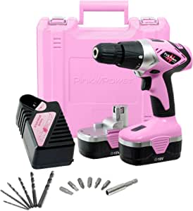 Pink Power Drill PP182 18V Cordless Electric Drill Driver Set for Women - Tool Case, 18 Volt Drill, Charger and 2 Batteries