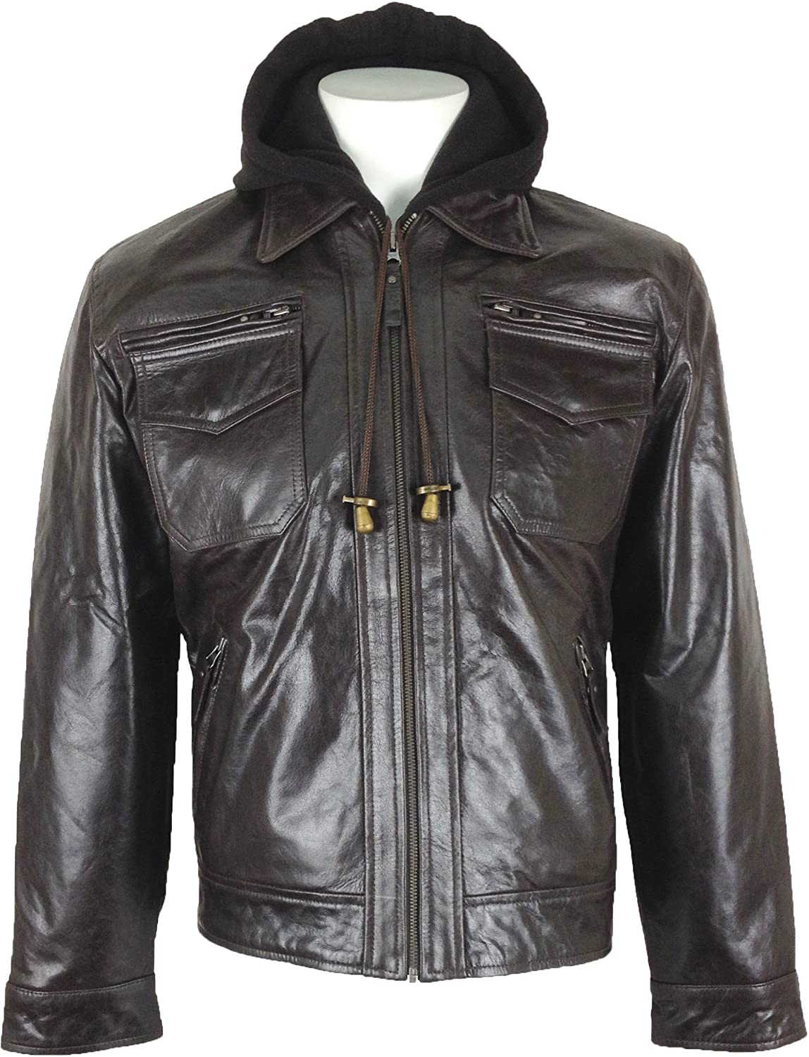 UNICORN Mens Fashion Hooded Real Leather Jacket Brown #K5