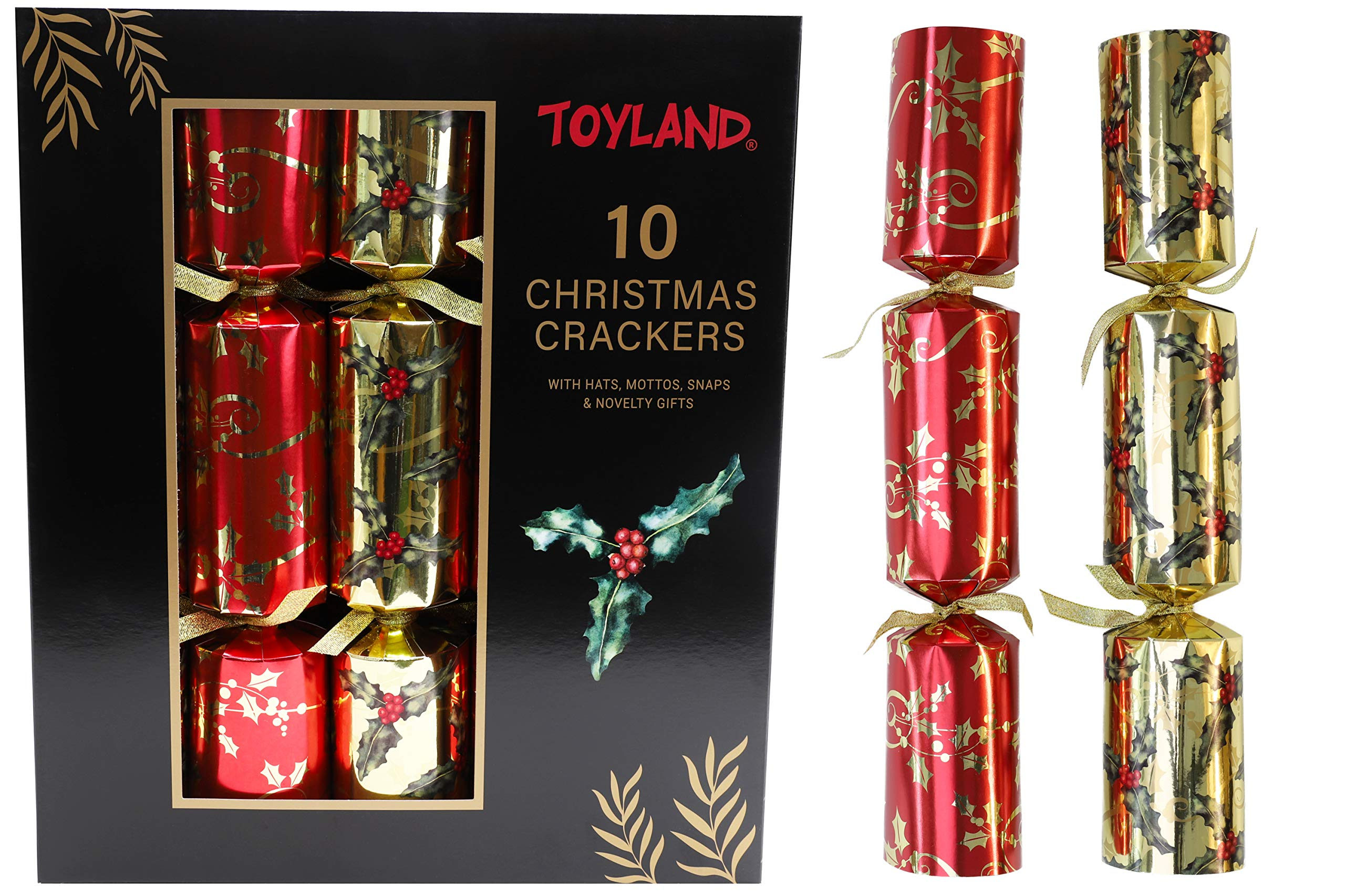 Toyland® 10 Christmas Crackers Deluxe Gifts Party Hat Joke 10 x 14 Crackers (Red & Gold Holly)