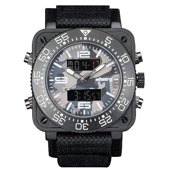 Para hombre de infantería analogue-digital reloj de pulsera cronógrafo camuflaje visión nocturna negro correa de nailon: Amazon.es: Relojes
