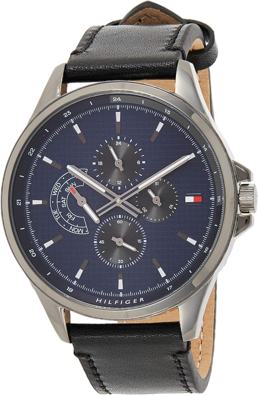 Tommy Hilfiger Reloj Multiesfera para Hombre de Cuarzo con Correa en Cuero 1791616