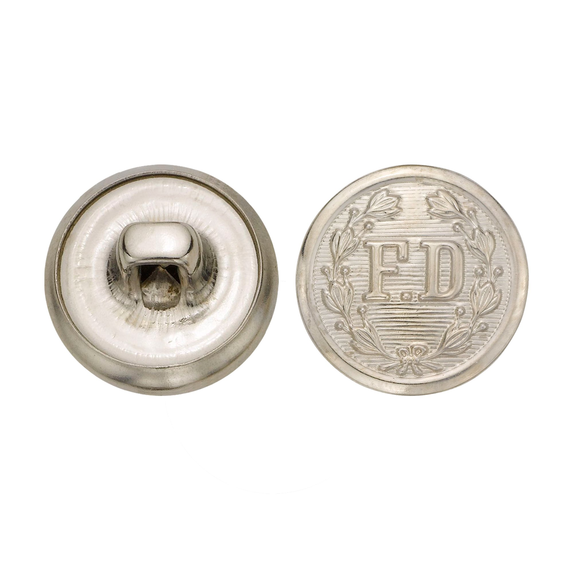 C&C Metal Products 5259 Fire Department Metal Button, Size 24 Ligne, Nickel, 72-Pack