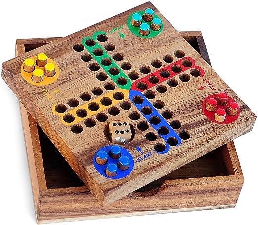 LOGICA GIOCHI Art. Ludo S – Parchís - Juego de Bolsillo - Juego de Mesa de Madera Preciosa - Juegos De Viaje: Amazon.es: Juguetes y juegos