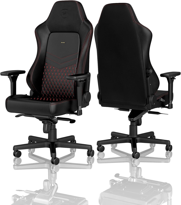 noblechairs Hero Chaise de Gaming - Chaise de Bureau - Cuir Véritable - Noir/Rouge