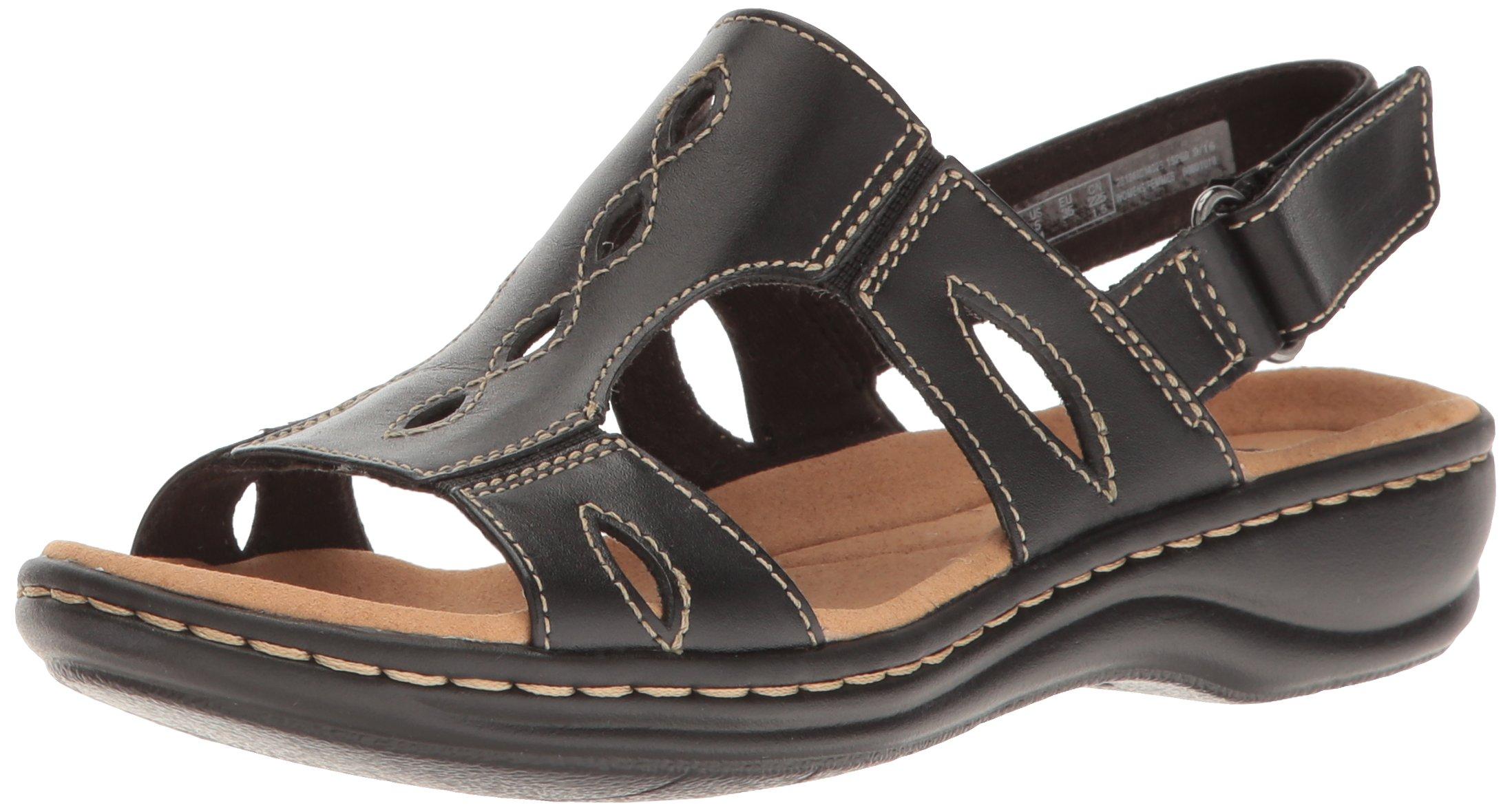CLARKS Women's Leisa Lakelyn Flat Sandal, Black Leather, 8 M US by CLARKS