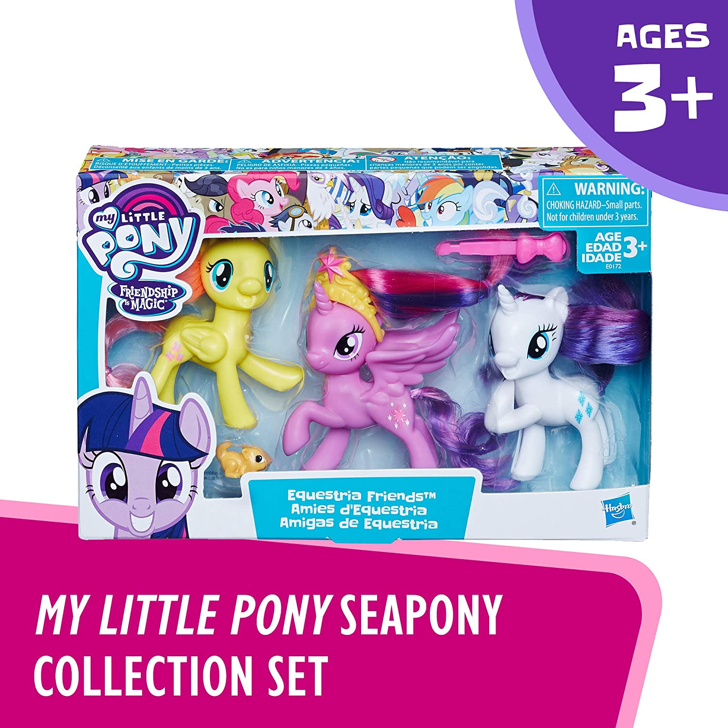 Rarity /& Fluttershy 3-Pack Ages 3 and Up Hasbro E0172 Intro to Friendship is Magic My Little Pony Toy Twilight Sparkle