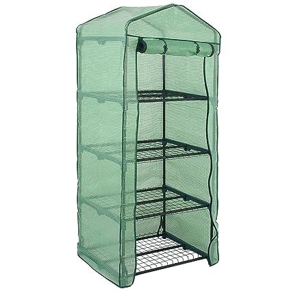 Amazon.com: Estantería de 4 niveles para jardín de acero con ...