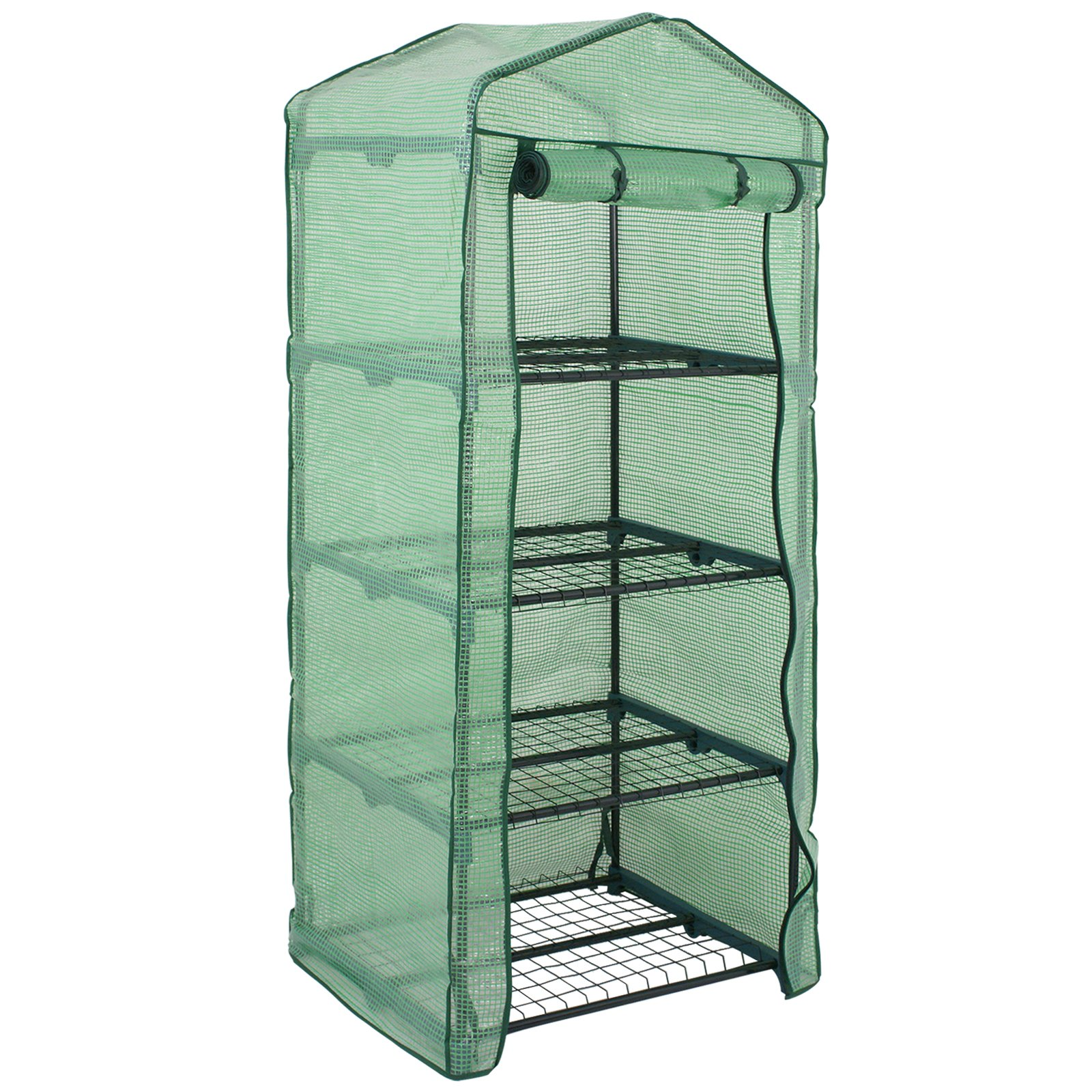 4 Tier Mini Greenhouse with PE Cover and Roll-Up Zipper Door, Waterproof Cloche Portable Greenhouse Tent-27.25'' L X 19'' W x 63'' H, Grow Seeds & Seedlings, Tend Potted Plants (1pcs) by Nova Microdermabrasion (Image #1)