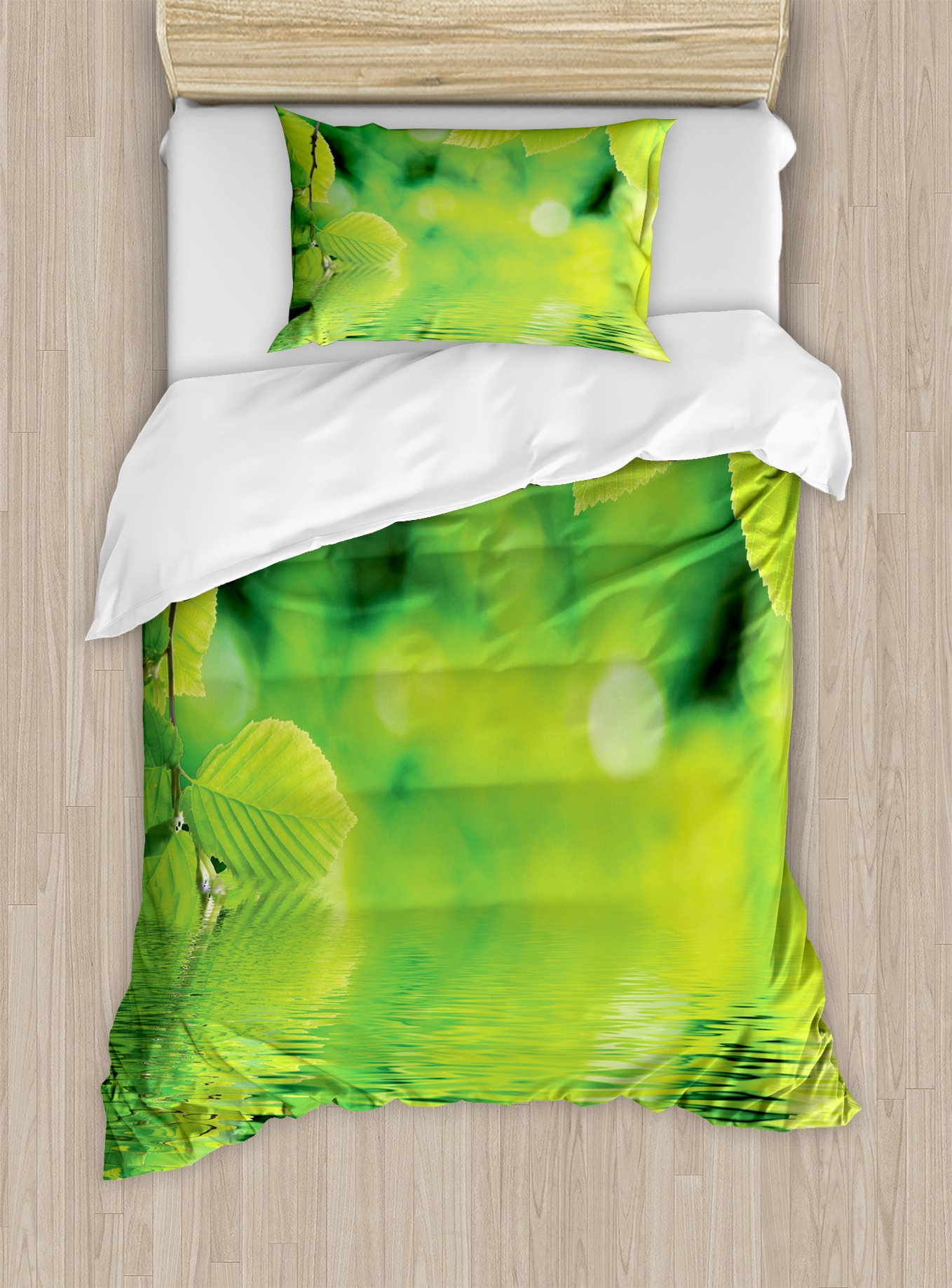 Ambesonne Leaves Duvet Cover Set Twin Size, Leaves in Water Spa Open Your Chakra with Nature Meditation Ecological Monochrome Photo, Decorative 2 Piece Bedding Set with 1 Pillow Sham, Green