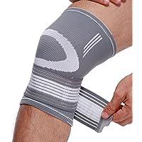 Genouillère (1 Unité) marque Neotech Care - RÉGLABLE - Protège genou pour gym, sport, musculation - Légère, élastique et respirante - Couleur grise (Taille L)
