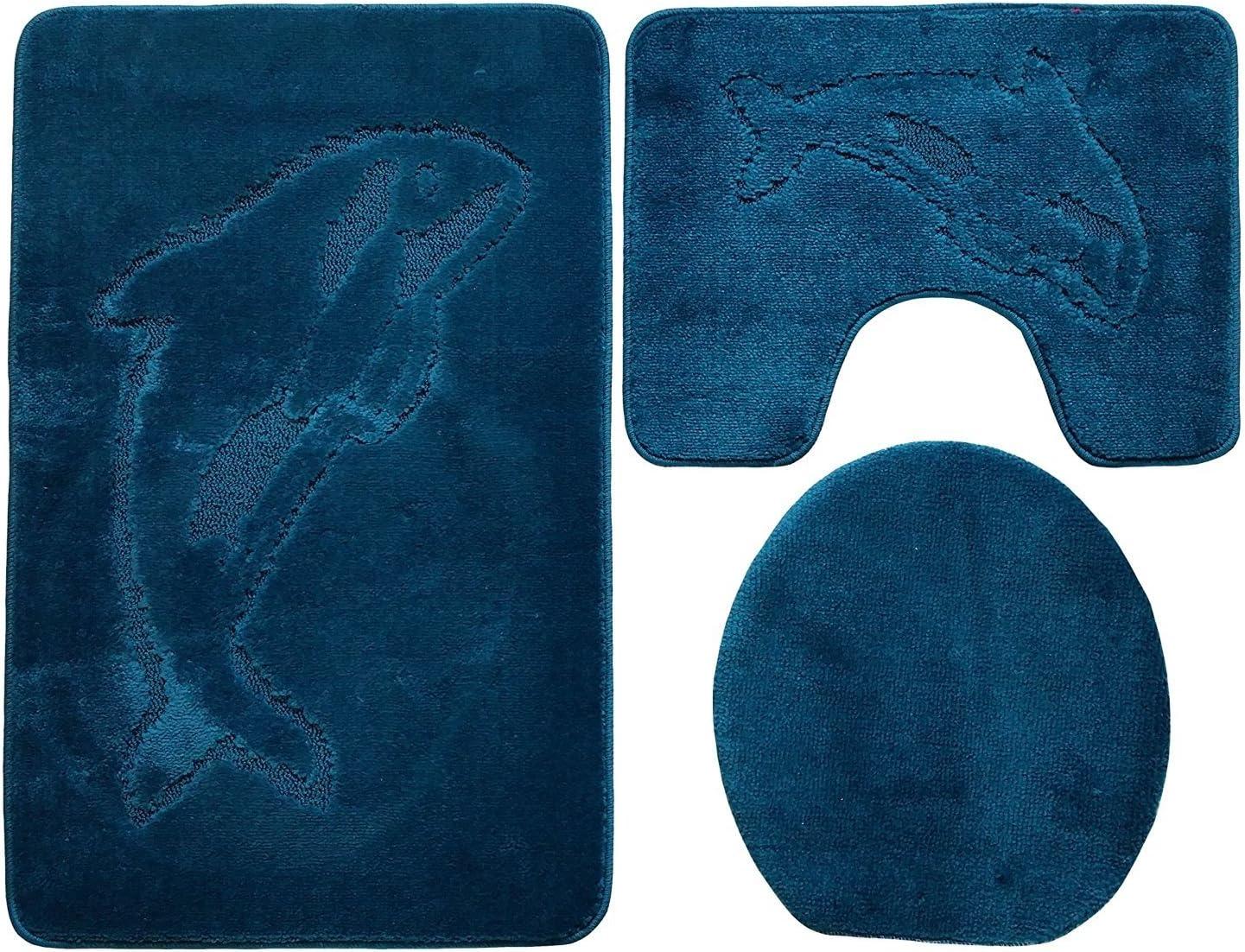 Ba/ño de 3/piezas Alfombrilla ba/ño alfombra 100/x 60/cm Petrol Azul ba/ño Delf/ín inodoro