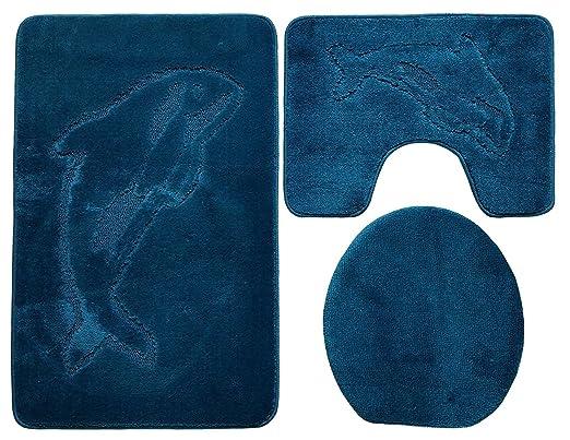 3 Teilig Badgarnitur 100x60cm Petrol Blau Badset Delphin Stand Wc