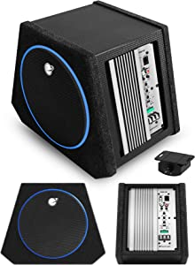 Planet Audio PAB100 Car Subwoofer and Amp Package – Built-in Amplifier, 10 Inch Subwoofer with Passive Radiator, Remote Subwoofer Control