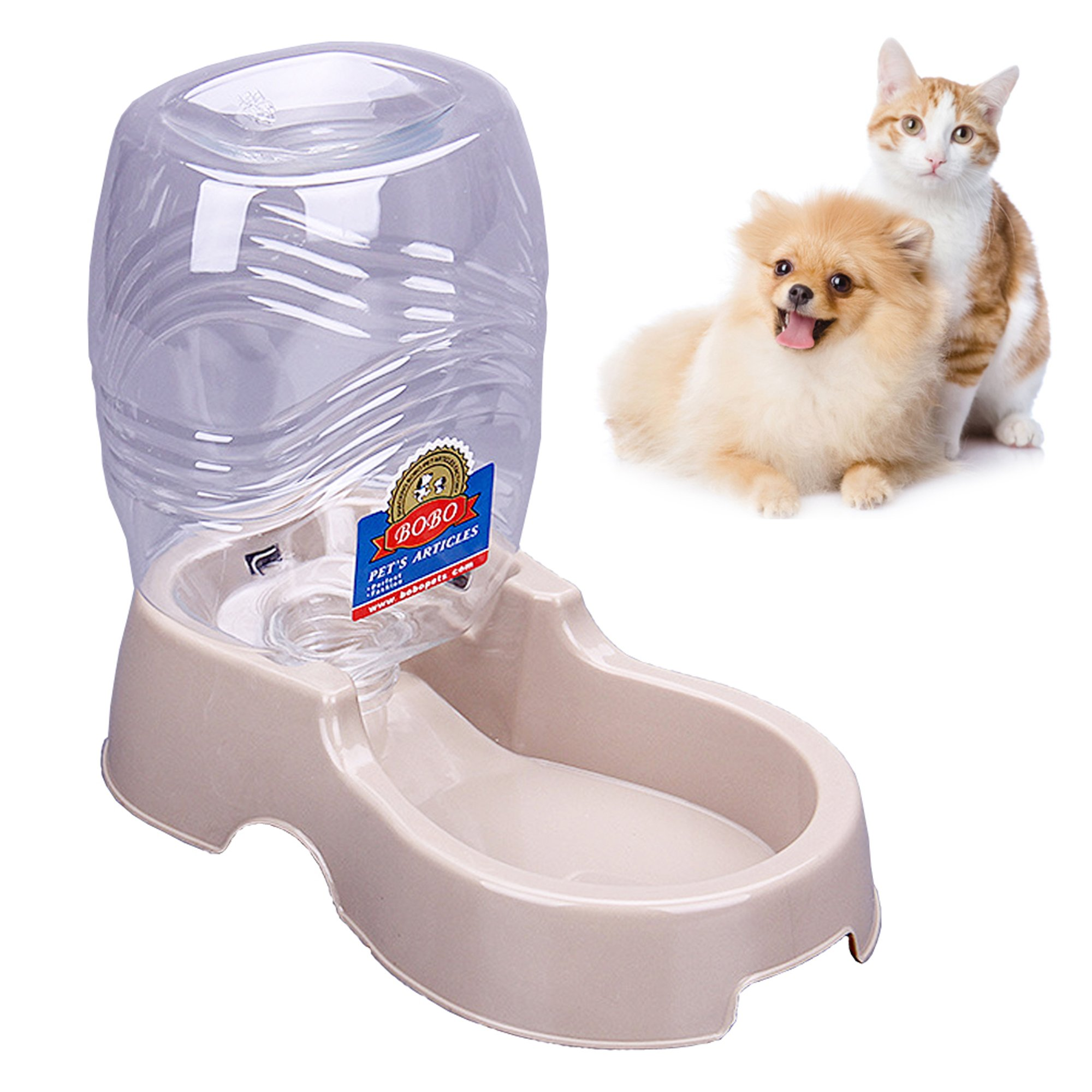 BOBO Pet Automatic Replenish Waterer Pet Cafe Cat Drink Bowl Bottle Dish for Cats/Dogs –1/4 gal(beige)