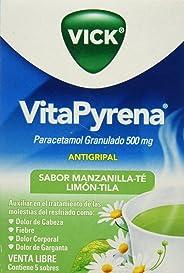 Vick Antigripal Vitapyrena Paracetamol, Manzanilla, Caja de 5 Sobres