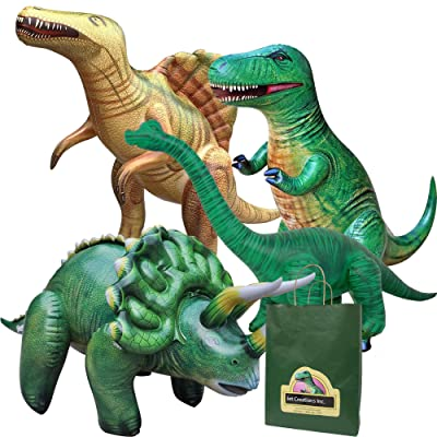 Jet Creations 4-pk Inflatable Dinosaurs Combo, T-rex Brachiosaurus, Spinosaurus, Triceratops. Great for Pool, Party Decoration. Size Range Approx. 37 to 53 inch, Multicolor: Toys & Games