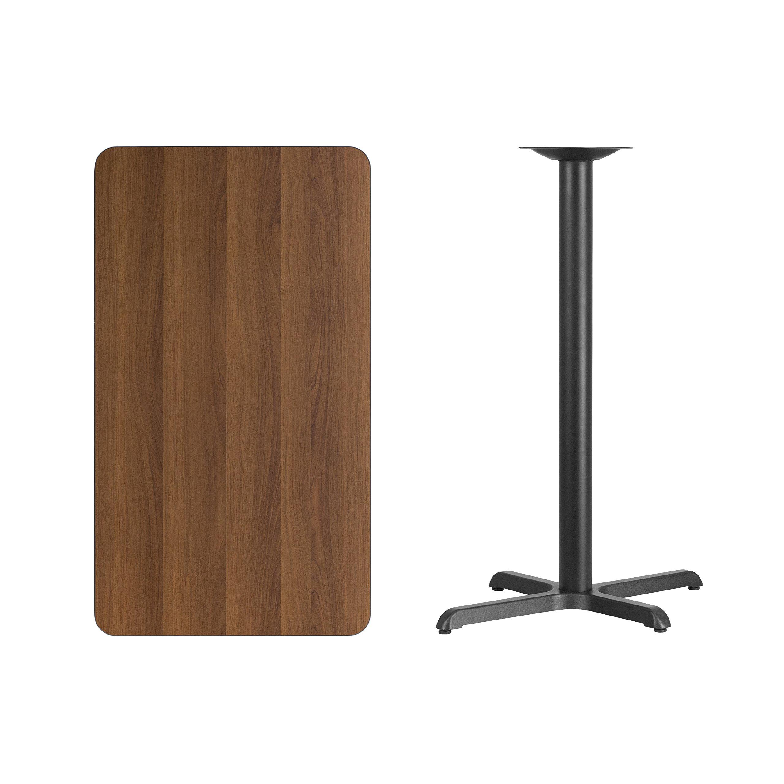 Flash Furniture 24'' x 42'' Rectangular Walnut Laminate Table Top with 22'' x 30'' Bar Height Table Base