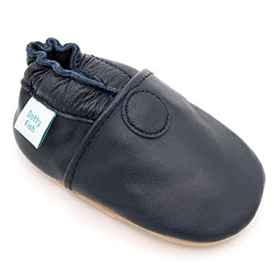 a4196d0e86aba Dotty Fish Soft Leather Baby Shoes. Toddler Shoes. Non-Slip Suede Soles.