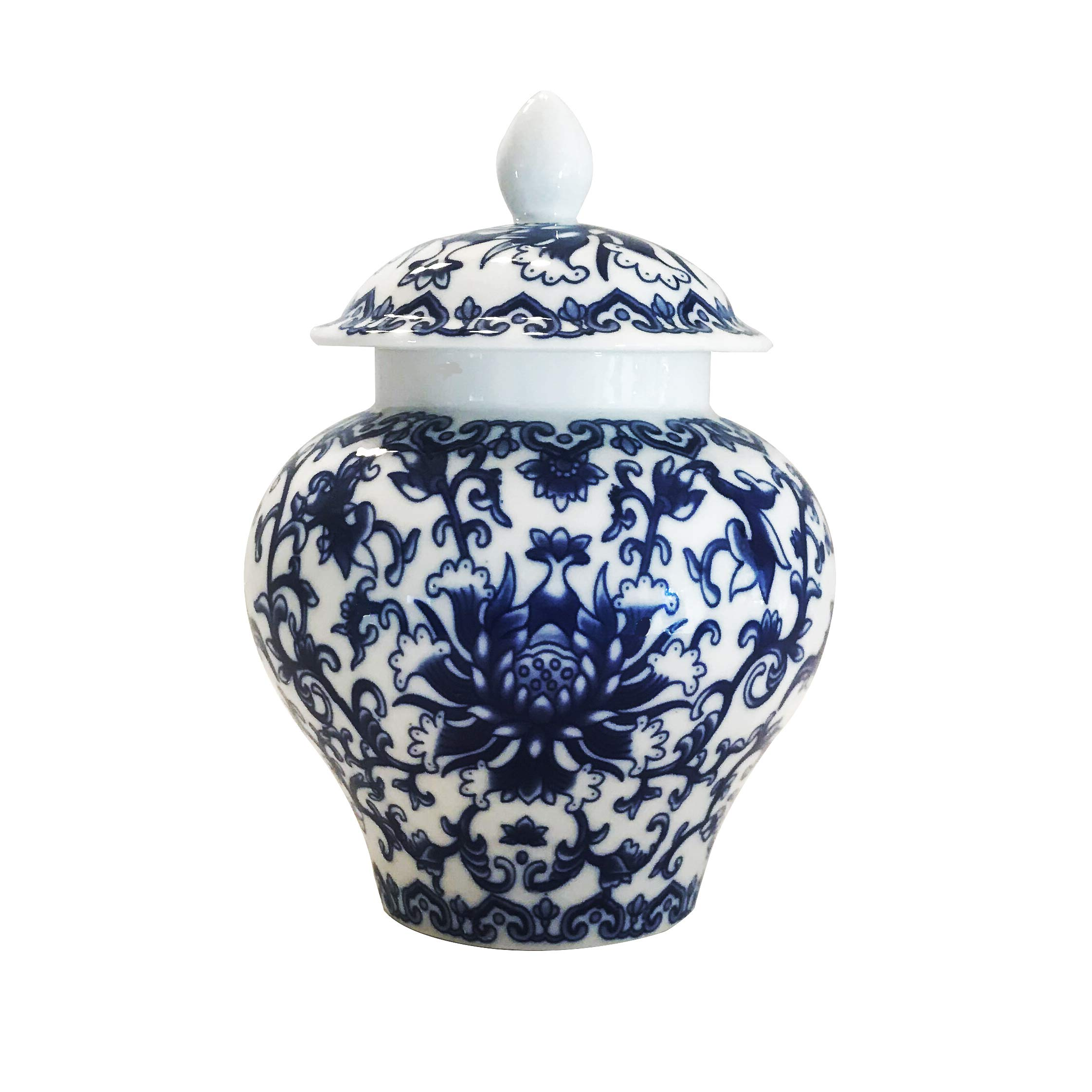 Ancient Blue and White Porcelain Helmet-shaped Temple Jar (Medium size) by Goodman and Wife