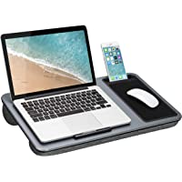 $29 » Home Office Lap Desk with Device Ledge, Mouse Pad, and Phone Holder, Fits Up to 15.6 Inch Laptops, Silver Carbon
