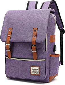 SUPEASE Vintage Slim College School Laptop Backpack with USB Charging Port for Women Men, Purple