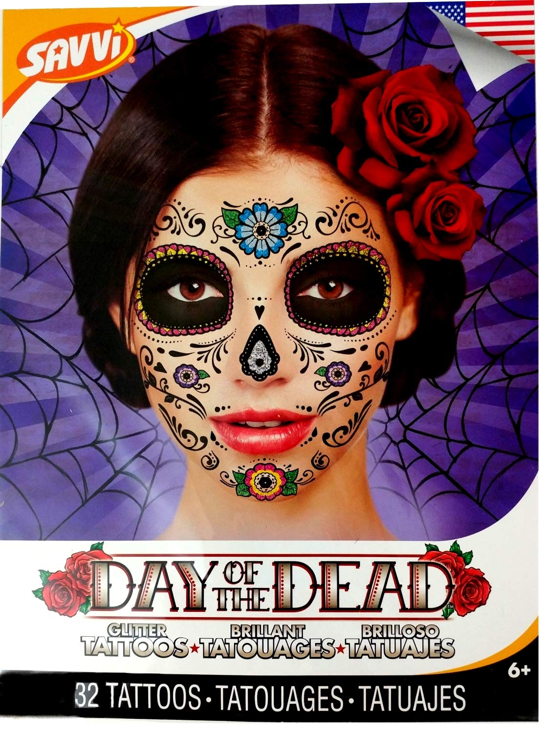 Amazon.com: Day of the Dead Temporary Tattoos Costume Kit (Set of 2 Sugar Skull Tattoos, Flower Design): Day of the Dead Face Tattoos; Sugar Skull Temporary ...