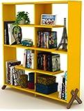 Home Canvas KIPP Made In Turkey Modern Book Shelve Living Room Furniture Book Shelf (Yellow-Walnut)