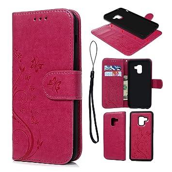 SUPWALL Funda para Samsung Galaxy A8 2018, Carcasa de Cuero Suave PU Leather Impresión de Mariposa, Flip Wallet Cover Mate TPU Case Interna, Cierre ...