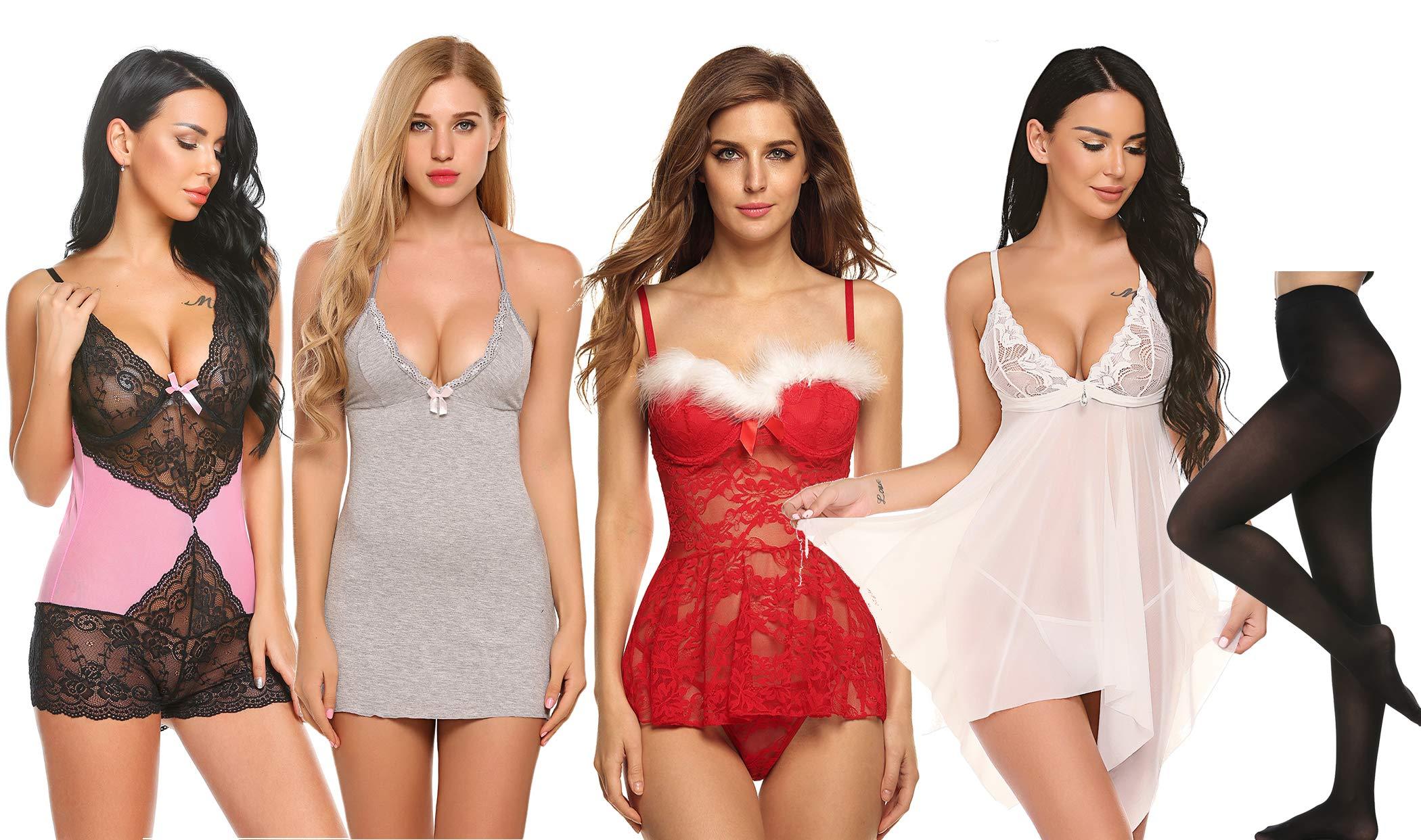 ELOVER Women Sexy Lingerie Lace Babydoll Nightgown Mini Teddy 5 Pack Sleepwear