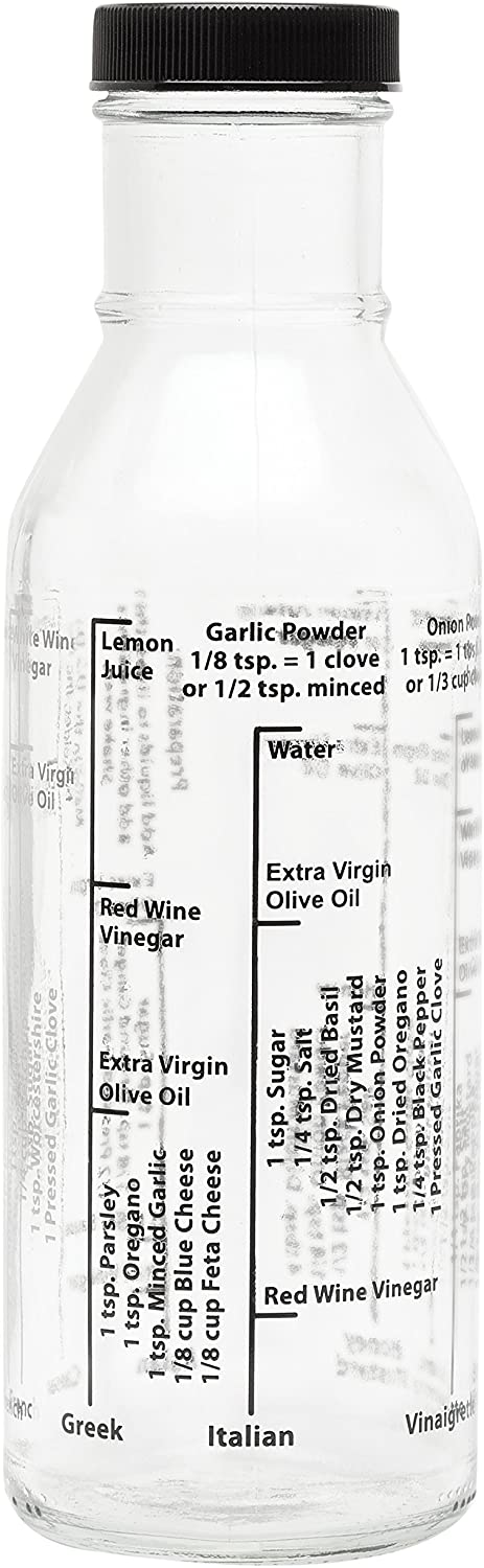 Kolder Salad Dressing Mixer Bottle for Light Recipes, Glass, 13-Ounce, Made in the USA, white