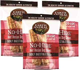 product image for Earth Animal Medium No-Hide Dog Chews, 3 2-Count Bags (6 Chews Total) - Made in The USA, Natural Rawhide Alternative Treats (Beef, Medium - 6 Chews)